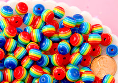 Rainbow Beads - 10mm Opaque Primary Rainbow Striped Resin Beads, small size beads - 80 pc set