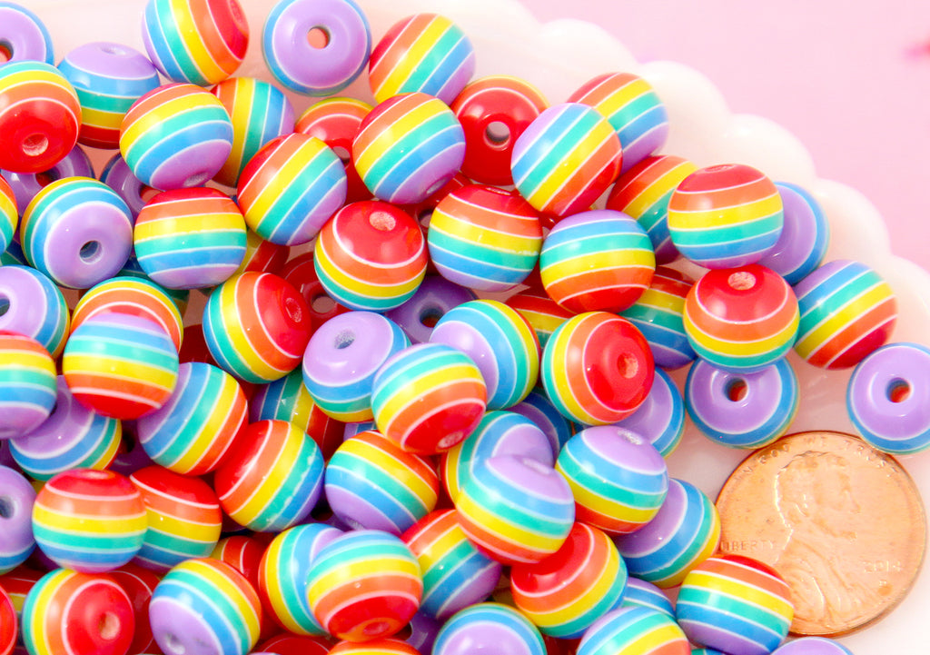 Rainbow Beads - 10mm Opaque Rainbow Striped Resin Beads with Purple, small size beads - 80 pc set