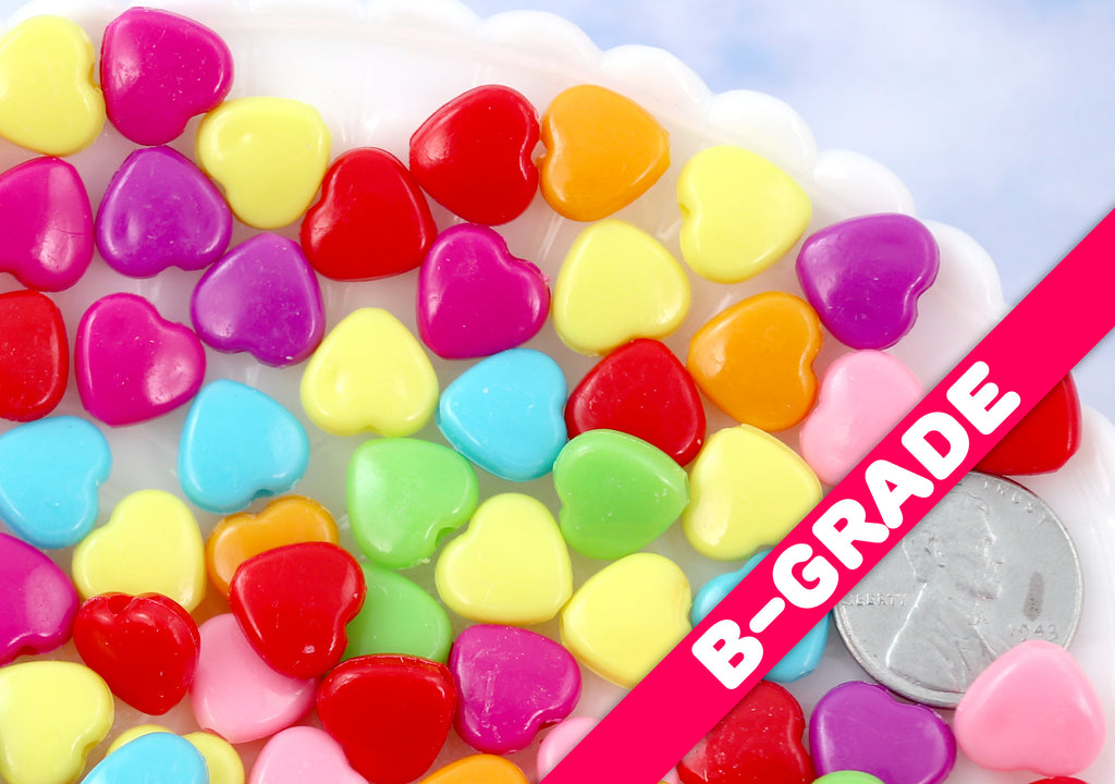 B-GRADE 10mm Colorful Hearts Acrylic or Plastic Beads - 200 pc set