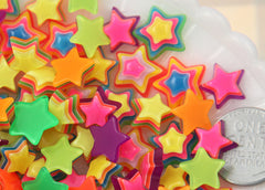 11mm Happy and Bright Small Striped Neon Rainbow Stars Flatback Resin Cabochons - 16 pc set