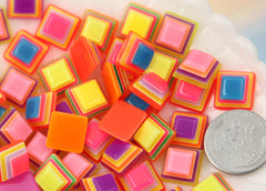 11mm Bright Striped Neon Rainbow Square Cube Flatback Resin Cabochons - 12 pc set