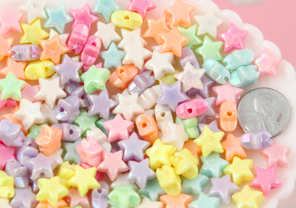 Star Beads - 12mm Small AB Beautiful Bright Pastel Star with Shiny Iridescent Finish Acrylic or Resin Beads - 150 pcs set