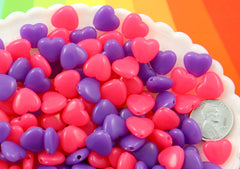 Heart Beads - 12mm Super Bright Pink and Purple Hearts Resin or Acrylic Beads - 100 pc set