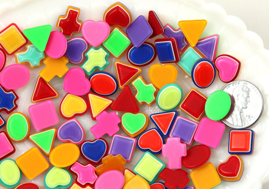12mm Tiny Mixed Shapes Bright Striped Neon Rainbow Resin Cabochons - 24 pc set