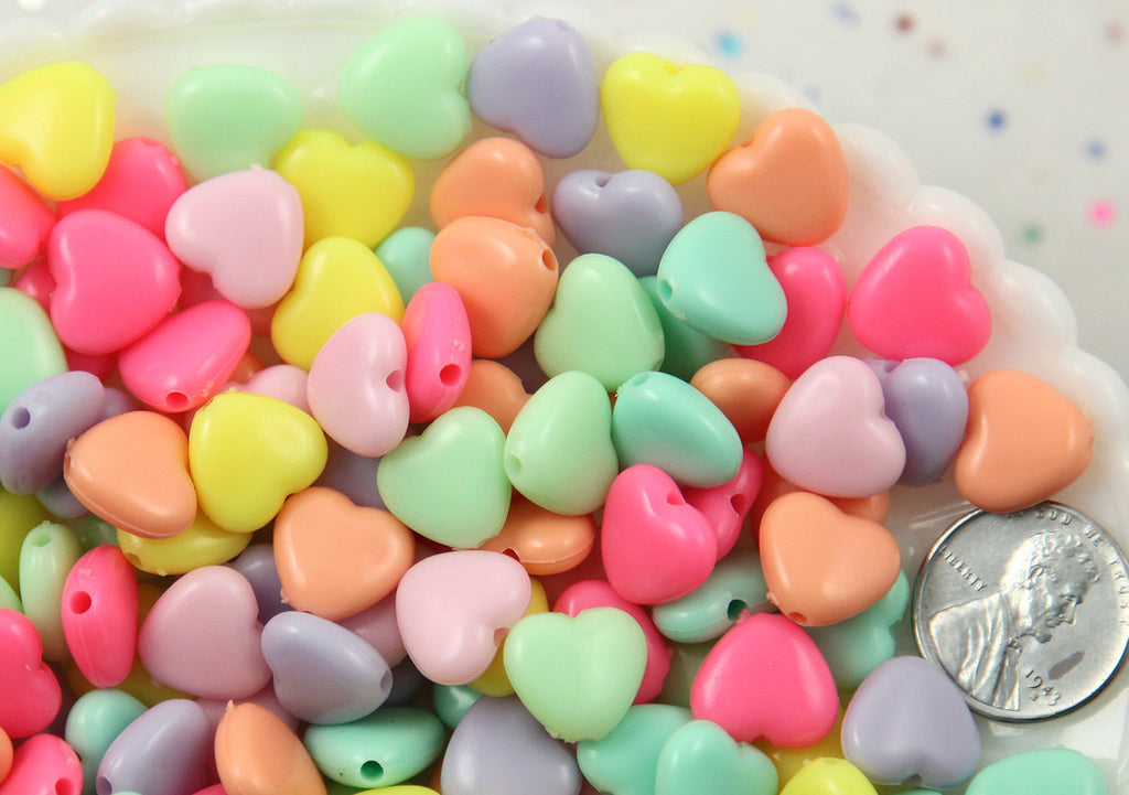 11mm Beautiful Bright Pastel Puffy Heart Acrylic or Resin Beads - 150 pcs set