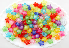 12mm Small Faceted Acrylic Star Beads with Inner Bead - Cute Colorful Little Resin Star Beads - 200 pc set