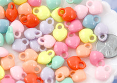 Tiny Pastel Charms - 15mm Tiny Pastel Heart Charms Acrylic or Resin Charms or Pendants - 65 pc set