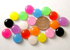 12mm Round Jellybean Colorful Drop Resin Cabochons - 20 pcs set