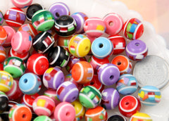 12mm Confetti Colorful Candy Striped Resin Beads, mixed color, small to medium size beads - 50 pc set