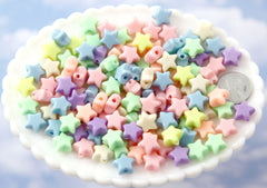 12mm Small Beautiful Bright 3D Rounded Puffy Pastel Star Acrylic or Resin Beads - 100 pcs set