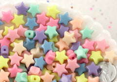 12mm Small Beautiful Bright 3D Rounded Puffy Pastel Star Acrylic or Resin Beads - 200 pcs set