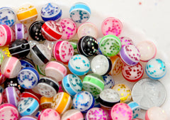 Glitter Beads - 12mm Glitter Globe Confetti Resin Beads - 60 pc set
