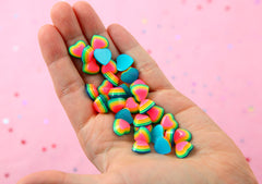 Rainbow Resin Cabochons - 12mm Rainbow Striped Bright Hearts Resin Flatback Cabochons - 20 pc set