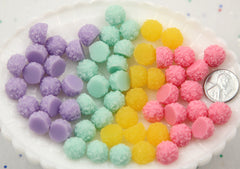 12mm Coconut Sugar Candy Balls Snowballs Sweet Ice Flatback Resin Cabochons - 16 pcs set