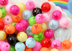 Star Beads - 12mm Amazing Bright Color Inlaid Star Bead Acrylic or Resin Beads - 45 pcs set