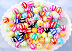 Striped Beads - 12mm Beach Ball Stripe Color Mix Round Resin Beads - 25 pc set