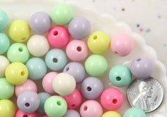 12mm Beautiful Bright Pastel Round Shape Acrylic or Resin Beads - 60 pcs set