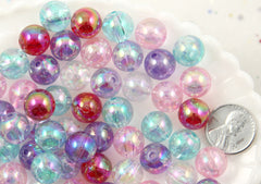 12mm Iridescent Pastel AB Mix Translucent Acrylic or Resin Beads - 65 pc set