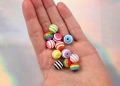 12mm Striped Resin Beads, mixed color, small to medium size beads - 50 pc set