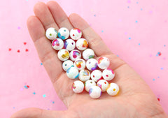Heart Beads - 12mm Amazing AB Colorful White Inlaid Heart Acrylic or Resin Beads - 24 pcs set