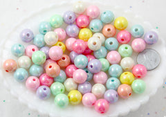 Pastel Beads - 12mm Ice Cream Pastel Colors Shiny AB Iridescent Small Round Shape Plastic or Acrylic Beads - 65 pcs set