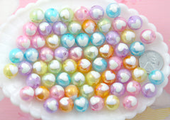 Pastel Heart Beads - 12mm Amazing AB Pastel Inlaid Heart Acrylic or Resin Beads - 24 pcs set