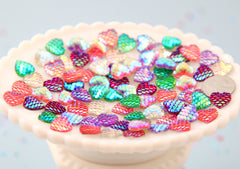 Mermaid Hearts - 12mm AB Mermaid Scales Heart Resin Flatback Cabochons - 24 pc set