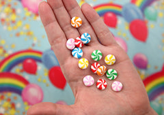 Fake Peppermints - 12mm Small Peppermint Swirl Candy Drop Clay or Resin Cabochons - 24 pcs set