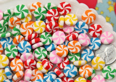 12mm Chunky Peppermint Swirl Candy Drop Clay or Resin Cabochons - 12 pcs set