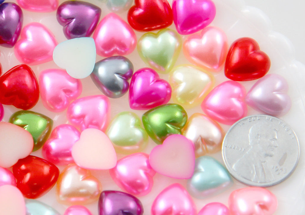 12mm Pastel Pearl Heart Plastic Flatback Resin Cabochons - 100 pc set