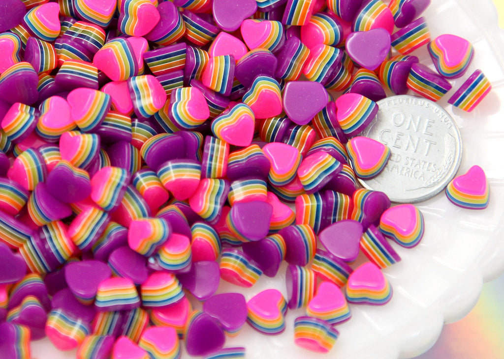 8mm Tiny Bright Striped Neon Rainbow Hearts Resin Flatback Cabochons - 12 pcs set