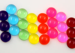 12mm Bright Round Flatback Dome Jellybean Colorful Drop Resin or Acrylic Cabochons - 24 pcs set