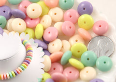 12mm Candy Color Rondelle Pastel Disc Shaped Faux Candies Acrylic or Plastic Beads - Perfect for Making Fake Candy Necklaces - 100 pc set