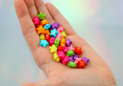12mm Small Puffy 3D Star Acrylic Beads - Colorful Rounded Tiny Plastic or Resin Stars Beads - 140 pcs set