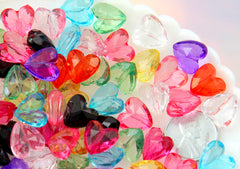 12mm Faceted Acrylic Heart Beads - Lovely Translucent Sparkling Resin or Plastic Heart Beads - 100 pc set