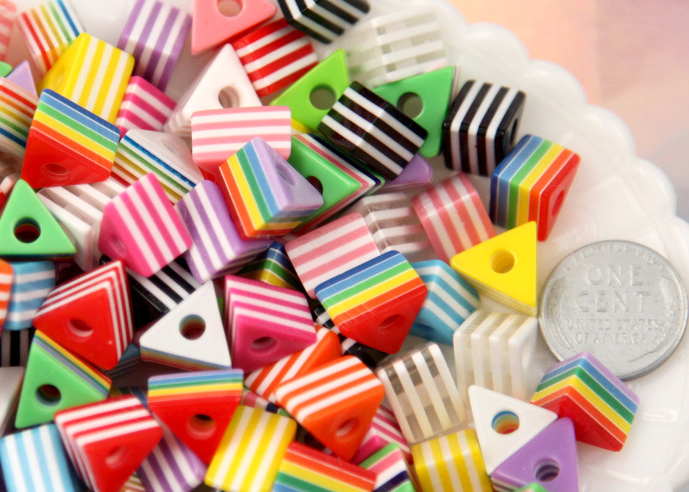 12mm Triangle Striped Resin Beads, mixed color, small size beads - 50 pc set