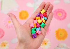 Cute Plastic Beads - 12mm Tiny Teddy Bears Bright Color Acrylic or Plastic Beads - 80 pc set