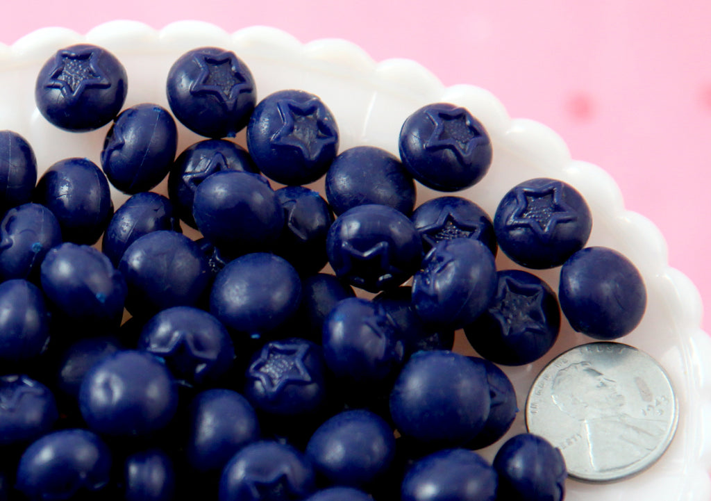 Fake Blueberries - 12mm Little Blueberries Soft Squishy Silicone Berry - 10 pc set