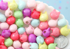 Kawaii Cat Beads - 12mm Kitty Cat Face Bead Pastel Acrylic or Plastic Beads - 50 pc set