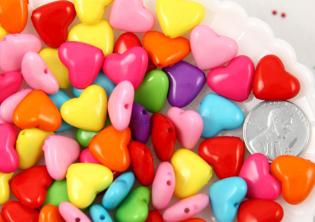 14mm Super Cute Brightly Colored Heart Acrylic or Plastic Beads - 80 pc set