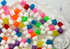 12mm Happy Pills Tiny Fake Plastic or Resin Cabochons - 18 pc set