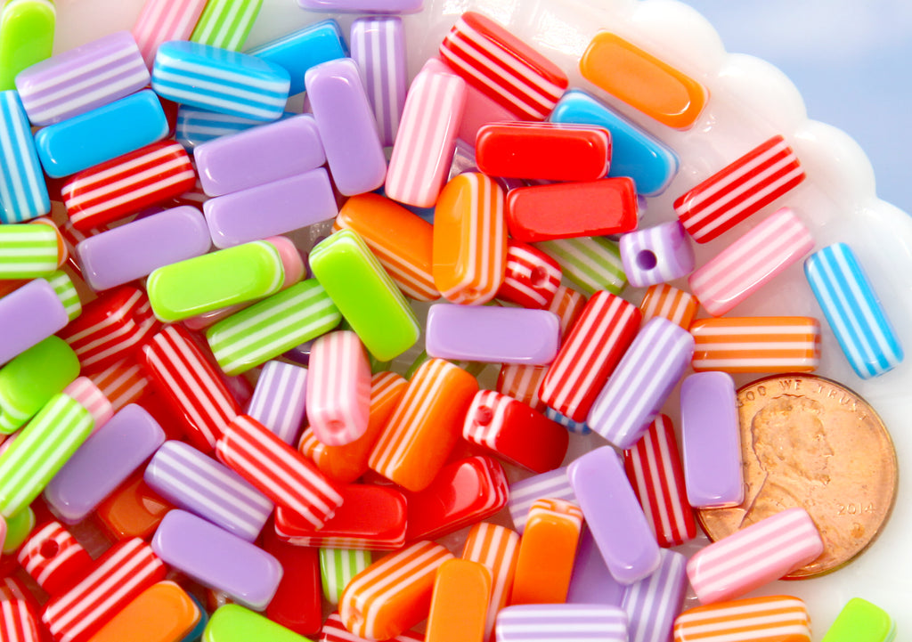Candy Beads - 5mm Little Candy Stripe Sticks Resin Beads, mixed color - 80 pc set