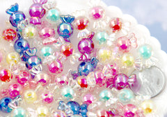 Candy Beads - 12mm AB Tiny Candy Shape Acrylic or Resin Beads - 35 pc set