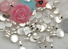 18mm Round Silver Color Bails - make cabochons into charms - 10 pc set