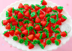 Fake Strawberries - 10mm Little Strawberry Soft Squishy Silicone Berry - 8 pc set