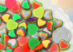 13mm Happy and Bright Striped Neon Rainbow Hearts Flatback Resin Cabochons - 16 pc set