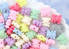 Pastel Beads - 12mm Tiny Pastel Teddy Bear Bright Color Acrylic or Plastic Beads - 80 pc set