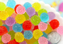 Fake Gumdrops - 13mm Gum Drop Jelly Candy Ball Resin Flat Back Cabochons - 24 pc set
