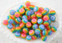 Rainbow Beads - 14mm Striped Resin Beads, rainbow color, super cute beads - 35 pc set