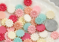 13mm Little Daisy Flower Resin Cabochons - 18 pcs set